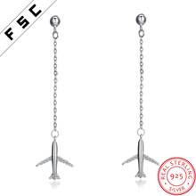 New Design Custom Silver Jewelry Crystal Airplane Long Hanging Earrings