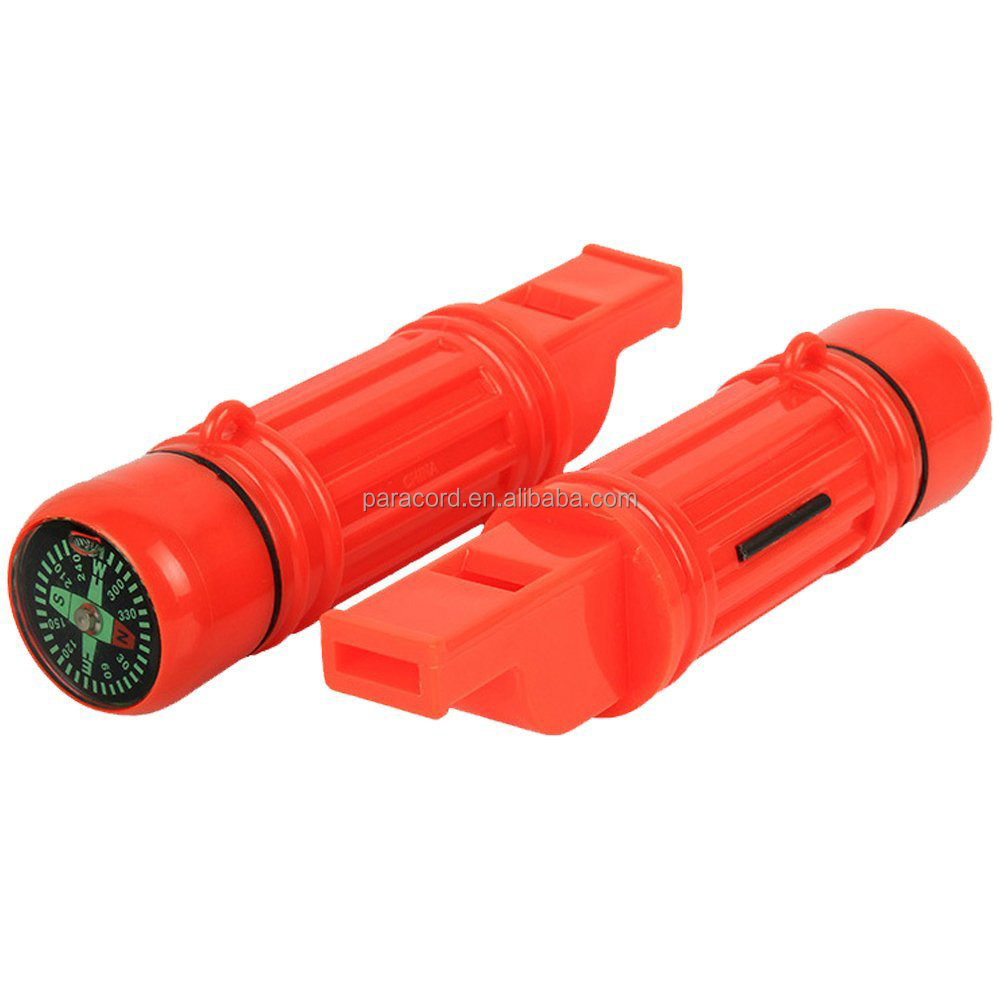 Wholesale Emergency Whistle 5 in 1 Safety Survival Compass Flint Waterproof Sealed Container Camping