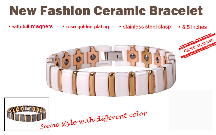 HOT Stock White & Gold Magnetic Ceramic Bracelet Jewelry