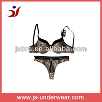 fashion style satin printed ladies sexy bra and panty set