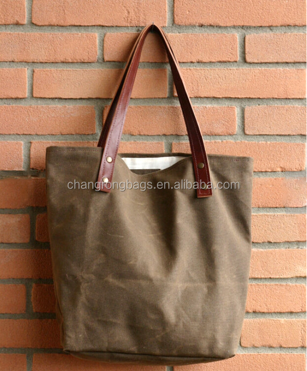 Waxed Canvas Tote Bag Leather Handle Canvas Tote Bag