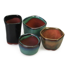 Happy Mini Glazed Clay Bonsai Pots