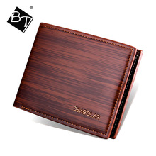 BT wholesale fashion wood grain clip PU leather men slim short rfid <strong>wallets</strong>