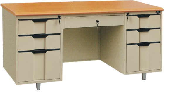HANDINHAND OD-K2A wooden top office table with double bucket and a middle drawer knock construction