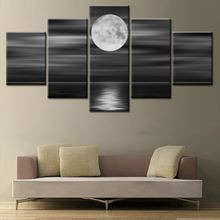Wholesale High quality 3d oil painting on canvas 5 panel moon and night unframed pictures for wall home decor drop shipping