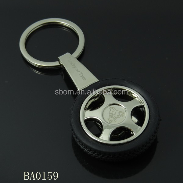 2014 from the stock <strong>Metal</strong> and Rubber Car tire shape keychain