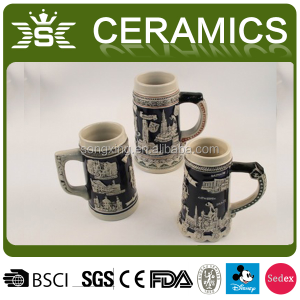 3D creative carve hand-painted ceramic beer cup