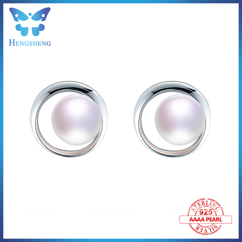 2017 9-9.5mm natural freshwater pearls 100% 925 sterling silver circle studs earrings white pink purple earring