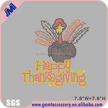 Thanksgiving day Turkey Rhinstone Iron on Transfer for Apparel