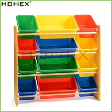 Kids Toy Storage Organizer with Plastic Toy Storage Bins/Homex_FSC/BSCI Factory
