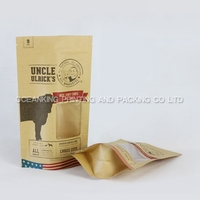 kraft paper bag with clear window for pet food packaging