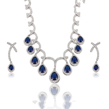 S-14 Xuping colorful dark blue brand bridal wedding jewelry, leaf shape water drop jewelry sets