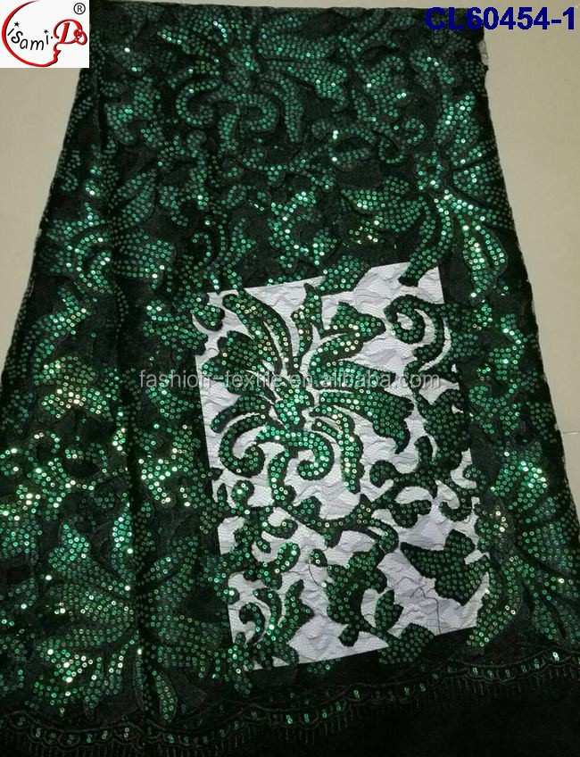 Navy green tulle lace fabric african french net CL60454-1 Wholesale french lace high quality orange embroidery lace with sequins