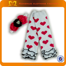 Infant Heart Shape Leg Warmers and Headbands Set Girls Cotton Ruffle Boot Warmers Child Boot Cuff Cheap Wholesale