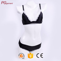Seamless triangle bralette lace trim supersoft silk sexy bralette sexy bra panty set