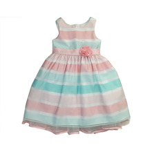Pink and Aqua stripe sleeveless girls party dresses