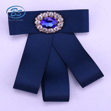 B18074Z Handmade bow brooches for women Pin Bow Tie fabric Brooch Crystal Rhinestone Bowknot brooch