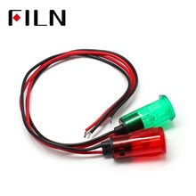 Flin 12.5mm neon indicator lamp plastic led indicator light pilot lamp signal lamp with 20 cm cable on watermark surface