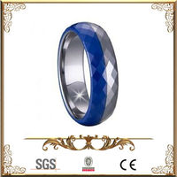 Blue Tungsten Ring With faceted