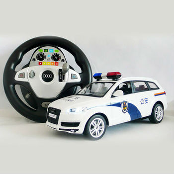LC-573637 1:14 licensed Gravity sensing RC police car controlled by a transmitter with Steering wheel shape