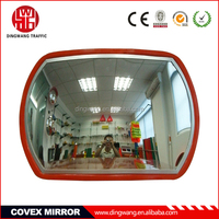 Red border convex rear view mirror