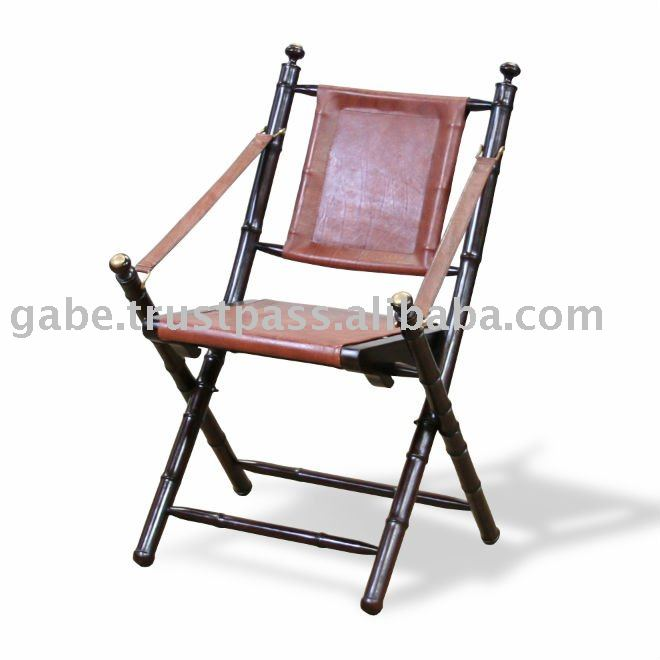 BAMBOO FOLDING CHAIR WITH LEATHER