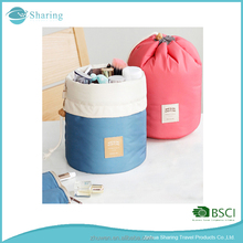 Barrel portable travel large capacity female cosmetic bag with different compartments