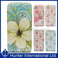 Floral Design Top Flip Leather Case Cover For iphone 5C