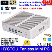 Fanless Industrial Computer Alloy Case Core i5 5200u Processor Gaming PC Mini Servers DDR3 8G RAM 128G SSD Windows 8 Linux 2 LAN