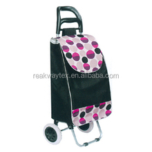 RW6012M China Shopping Bag Factory Supply Flap Color Dots Trimming Design Vegetable Shopping Trolley Bag With 2 Wheels