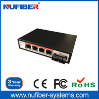 POE Switch 10/100M Dual Fiber Single Module 4 POE Port Network POE Switch Security Systems