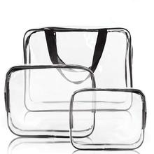 Toiletry Bags Makeup Bags &amp; <strong>Cases</strong> Transparent Waterproof <strong>Plastic</strong> Bag Clear PVC with Zips Storage