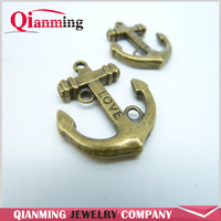10pcs 25x30mm Antique Bronze Lovely Thick Love Anchor Charm Pendant c4137