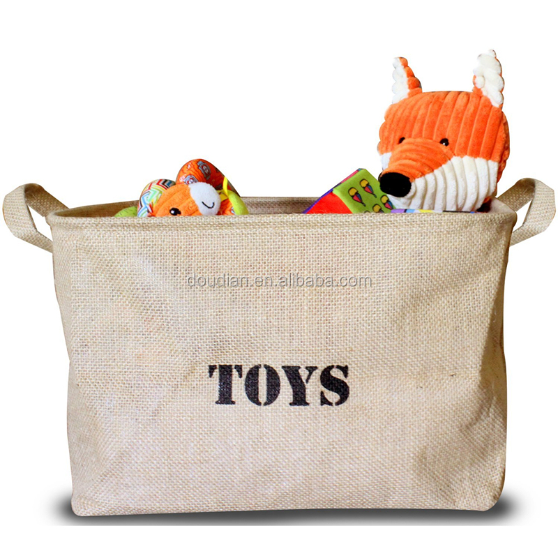 Jute Storage Bin Toy Storage Basket for organizing Kids Toys