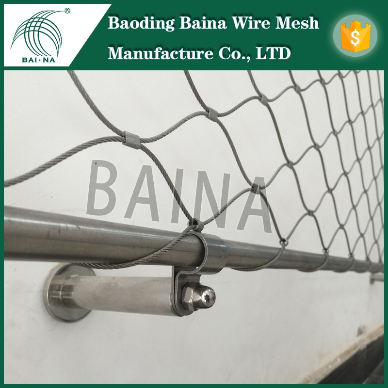 High Strength Decorative Hand-Woven Stainless Steel Wire Rope Mesh/Cheap Road Security Extend Fence Steel Rope Fence