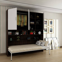 Wood <strong>Furniture</strong> Folding Bed Hidden Wall Bed with Wardrobe