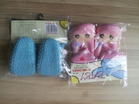 warm and soft touch baby shoe socks with rubber sole