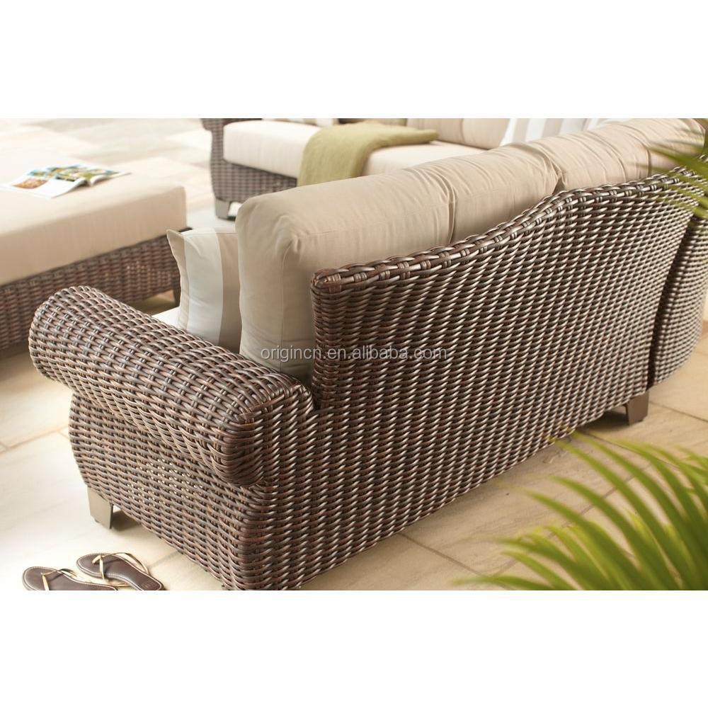 Royal luxury design deep seating rattan sofa set with for Sofa rattan