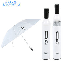 New Promotional Door Gifts Designer 3 Fold Wine Bottle Deco White Small Full body umbrella for sale in Case