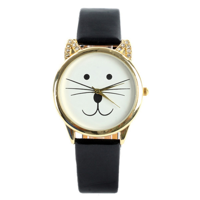 Style Cute Women/Girl Lovely Cat Face Shape Watch Faux Leather Bracelet Watch Wristwatch Relojes Female