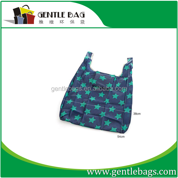 Nylon shopping foldable roll up tote bag with full color all over printing