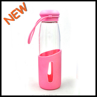 CE Approved colorful borosilicate eco-friendly glass bottle with fuill covered silicone sleeve