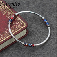 S925 silver jewelry wholesale Thailand silver bangle br fine bracelets open adjustable handmade cloisonne bracelet AB3429S