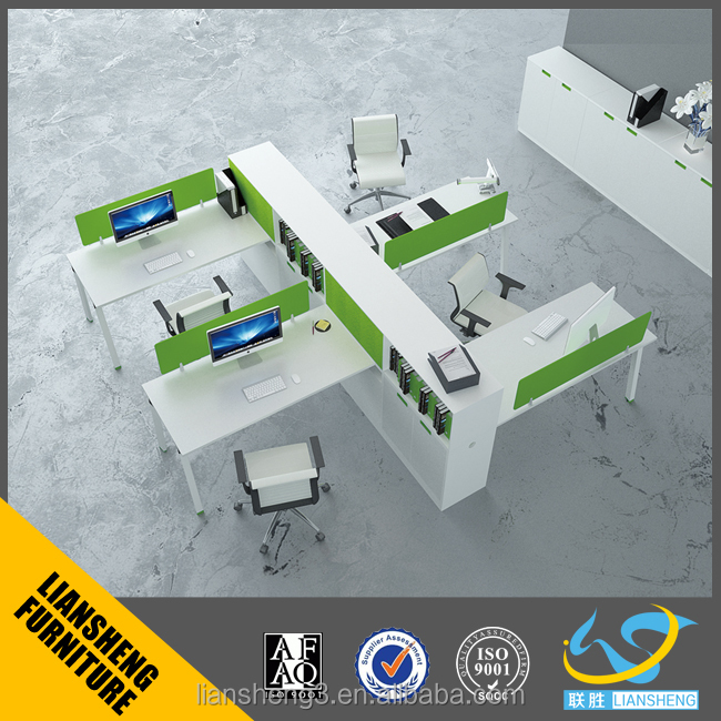 Office furniture office workstation for three person melamine board office staff used with 3D pedestal