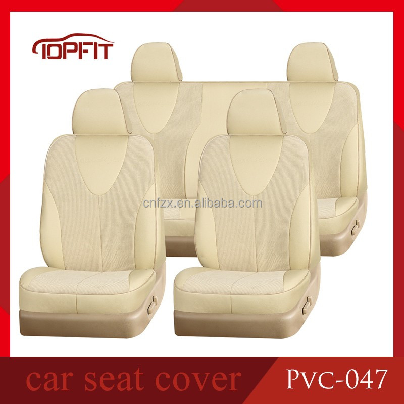 Hot Sale Fancy T-shirt Design Easy Cleaning Waterproof Beige PVC Leather Car Seat Protector Covers for Hilux Pickup Prado