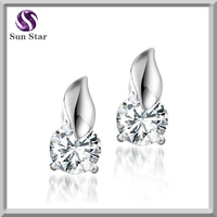 Naked Zircon Crystal Earring Stud Silver 925 with Platinum Plated for Women