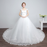 ZH02201B Korean style Sexy Lace Mariage Cap Sleeves Princess puffy white Wedding Dresses