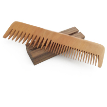 WB200-565 Custom Logo Personalized Hair Comb Blank Peach Wood Hair Comb Beard Comb