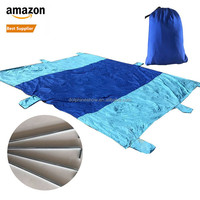 Durable Ripstop Compact Outdoor Camping 9x7FT Blue Color Sand Free Nylon Picnic Beach Blanket Parachute