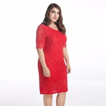 sexy red plus size lace prom long dress